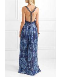Matthew Williamson - Blue Inca Jewel Embellished Printed Silk-chiffon Gown - Lyst