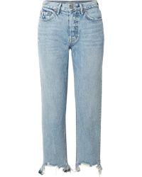 GRLFRND - Blue Helena Distressed High-rise Straight-leg Jeans - Lyst