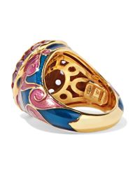 Percossi Papi - Purple Gold-tone, Enamel, Crystal And Stone Ring - Lyst