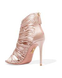 Aquazzura - Pink Goddess Braided Satin Sandals - Lyst