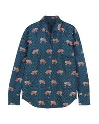 J.Crew   Blue Printed Silk-twill Shirt   Lyst