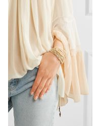 Chan Luu - Metallic Gold-plated Multi-stone Wrap Bracelet - Lyst