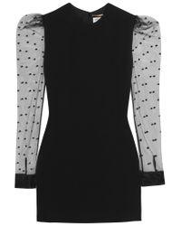 Saint Laurent   Black Flocked Tulle-paneled Crepe Mini Dress   Lyst
