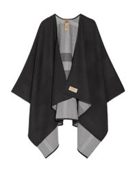 Burberry - Black Reversible Checked Merino Wool Wrap - Lyst