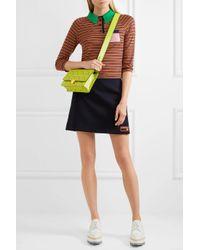 Prada - Green Printed Textured-leather Shoulder Bag - Lyst