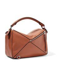 Loewe - Brown Puzzle Textured-leather Shoulder Bag - Lyst