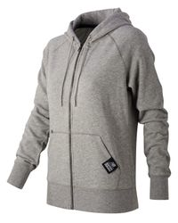 New Balance | Gray Essentials Plus Full Zip Fleece Hoodie for Men | Lyst