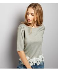 New Look - Gray Dark Grey Floral Lace Hem Short Sleeve Top - Lyst