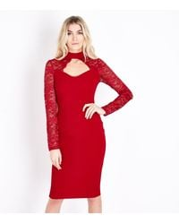 82a8dcf7cb AX Paris Red Lace Sleeve Choker Neck Midi Dress in Red - Lyst