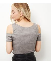 New Look - Petite Mid Pink Foil Cold Shoulder Top - Lyst