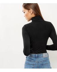 New Look - Black Turtle Neck Long Sleeve Bodysuit - Lyst