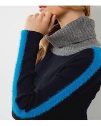 New Look - Blue Navy Stripe Colour Block Turtle Neck Sweater - Lyst