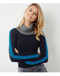 New Look - Blue Navy Stripe Colour Block Turtle Neck Sweater - Lyst