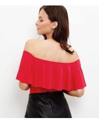 New Look - Red Frill Trim Bardot Neck Bodysuit - Lyst