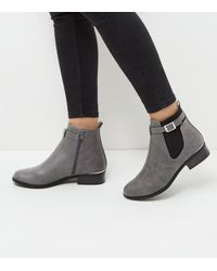 New Look - Gray Grey Buckle Strap Metal Trim Chelsea Boots - Lyst