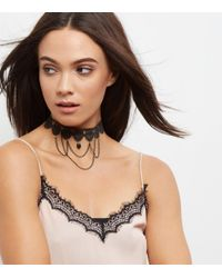 New Look - Black Lace Drap Chain Choker - Lyst