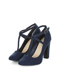 New Look - Blue Navy Suedette T-bar Block Heels - Lyst