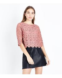 New Look - Red Plum Crochet Lace 3/4 Sleeve Top - Lyst