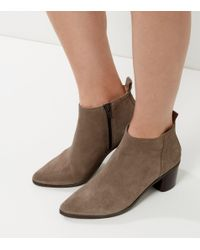 New Look - Gray Grey Suede Pointed Block Heel Chelsea Boots - Lyst