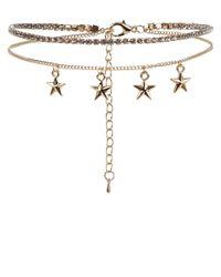 New Look | Metallic Gold Layered Star Diamantã© Choker | Lyst