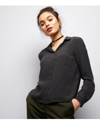 New Look - Black Double Pocket Front Cropped Shirt - Lyst