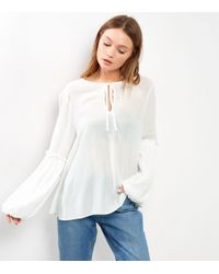 New Look | White Frill Trim Tie Neck Long Sleeve Top | Lyst