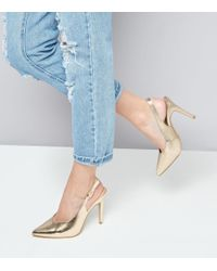 New Look | Gold Metallic Pointed Sling Back Heels | Lyst