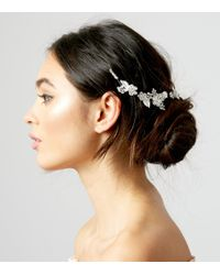 New Look - Metallic Silver Flower And Leaf Back Hair Slide - Lyst