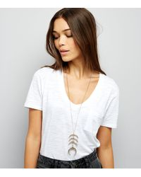 New Look   Metallic Silver Layered Crescent Pendant Necklace   Lyst