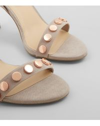 New Look | Gray Wide Fit Grey Stud Strap Heeled Sandals | Lyst