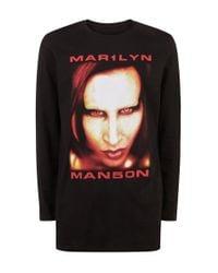 New Look - Black Marilyn Manson Longline T-shirt for Men - Lyst
