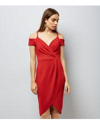 1f78f57608 Ax Paris Red Cold Shoulder Midi Dress in Red - Lyst