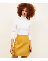 ea611a166 New Look Yellow Leather-look Mini Skirt in Yellow - Lyst