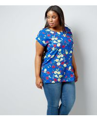 New Look - Curves Blue Floral Front Jersey Back T-shirt - Lyst