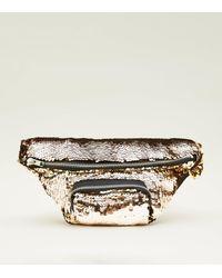 New Look Metallic Gold And Rose Gold 2 Way Sequin Bum Bag
