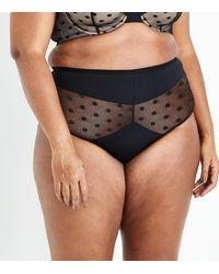 New Look - Curves Black Polka Dot Mesh High Waist Briefs - Lyst