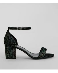 New Look - Wide Fit Black Iridescent Brocade Block Heel Sandals - Lyst