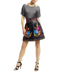 Nicole Miller | Black Embroidered Leather Skirt | Lyst