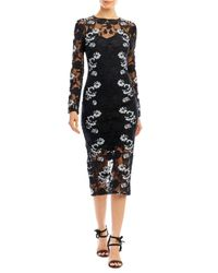 Nicole Miller | Black Trellis Embroidery Long Sleeve Dress | Lyst