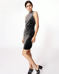 Nicole Miller - Gray Velvet Mock Neck Dress - Lyst