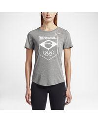 Nike - Gray Team Brazil Logo Women's T-shirt - Lyst