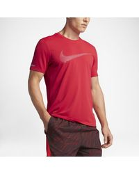 Nike | Red Dry Contour Men's Short Sleeve Running Top for Men | Lyst