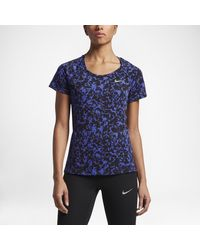 Nike   Blue Dry Miler Graphic Women's Short Sleeve Running Top   Lyst