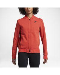 Lyst - Nike Tech Fleece Destroyer Women s Jacket in Red 9e034380f2