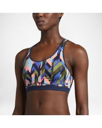 1d6fc69ae0f98 Lyst - Nike Pro Fierce Women s Printed Medium Support Sports Bra in Blue