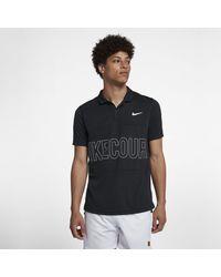 f48bdfa615cb Nike Court Dri-fit Graphic Tennis Polo in Black for Men - Lyst