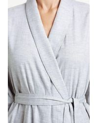 Bodas - Gray Long Brushed Cotton Robe - Lyst