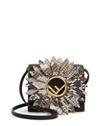 Fendi - Black Mini Kan I Crossbody Bag With Genuine Python Trim - Lyst