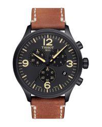 Tissot - Black Chrono Xl Leather Strap Chronograph Watch for Men - Lyst