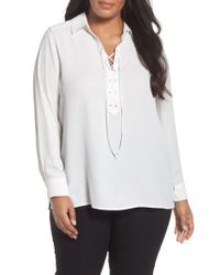 Foxcroft - White Lace-up Blouse - Lyst